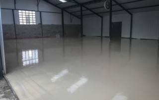 Finished floor waiting to dry